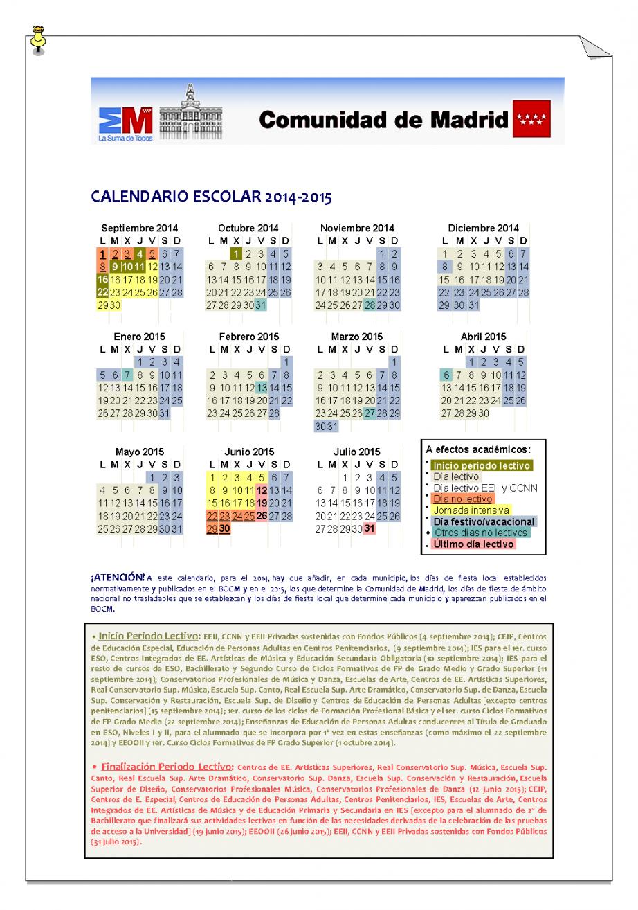 calendario escolar 20142015